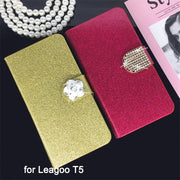 Flip Phone Case Cover For Leagoo T5 Original Rhinestone Cases Bling Fundas Diamond Coque Glitter Capa