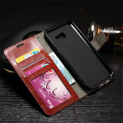 Flip Stand Case For Samsung Galaxy A3 2017 A5 2017 A7 2017 Cover Coque Retro Crazy Horse Leather Wallet Photo Frame Phone Cases