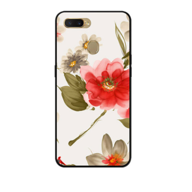 Floral Girl Phone Case For OPPO A7 Case Black Silicone Soft
