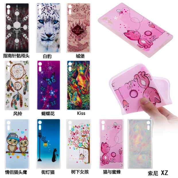Flowers Owl Cat Silicone Relief Cover TPU Phone Cases For SONY E6 L1 XA1 Z6 XZ XZs Case