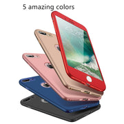 For Apple IPhone 7 6 6s Plus Case 360 Degree Full Body Protect Soft TPU Back Cover For IPhone 6 6S Silicone Phone Case + Glass