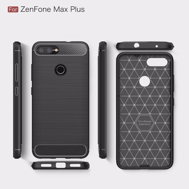 For Asus ZenFone Max Plus M1 ZB570TL Luxury Shockproof Carbon Fiber Soft TPU Back Cover For Asus Zenfone Max Plus ZB570TL Case