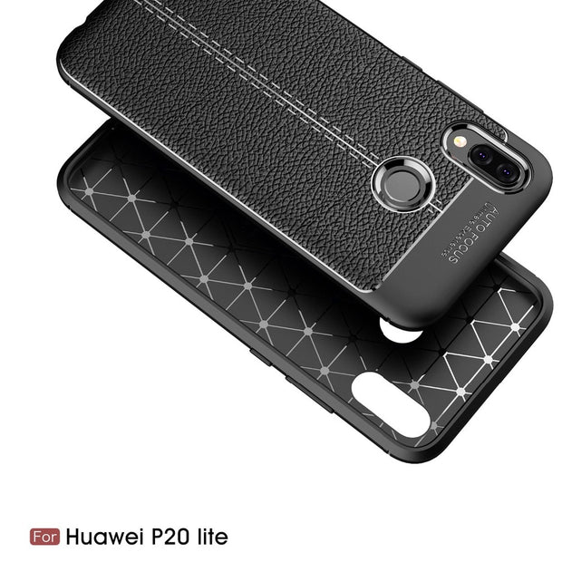 For Coque Huawei P20 Lite Case Silicone Luxury Litchi Texture Soft TPU PU Leather Back Cover Case For Huawei Nova 3E Capa