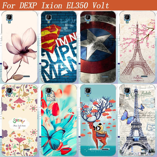 For DEXP Ixion EL350 Volt Case Cover Cool Pattern Deer Superman Towers DESIGN Tpu Case For DEXP EL350 Volt 5.0 Inch Phone Bags