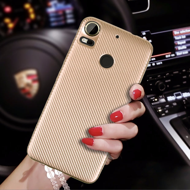 For HTC Desire 10 Pro D526 D626 D728 D820 Case Shockproof Carbon Fiber Ultra Thin Soft TPU Phone Case Slicone Back Cover