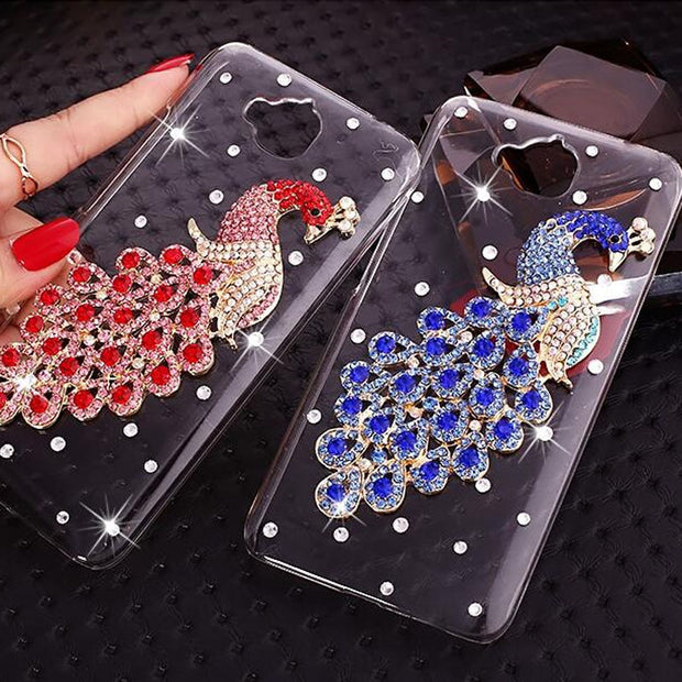 For Huawei Honor 4C Pro Fashion 12 Mold Peacock Rhinestone Cell Phone Hard Case For Huawei Y6 Pro 5.0 Inch Cases (not Honor 4C