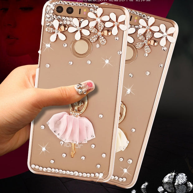 For Huawei Honor 8 Case Cute Ballet Girl Bling Rhinestone PC Hard Transparent Shell Phone Case For Huawei Honor 8 Case 5.2""