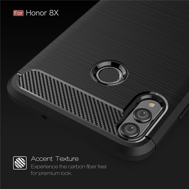 For Huawei Honor 8X 6.4 Inch Case Silicone Soft TPU Carbon Fiber Heavy Shockproof Back Cover For Honor 8X Coque Shell Fundas