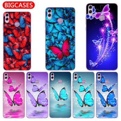 "For Huawei Honor 8X Case Cover 6.5"" Soft TPU Silicone Popular Cute Color Shiny Dreamy Butterfly Painted Protective Phone Case"