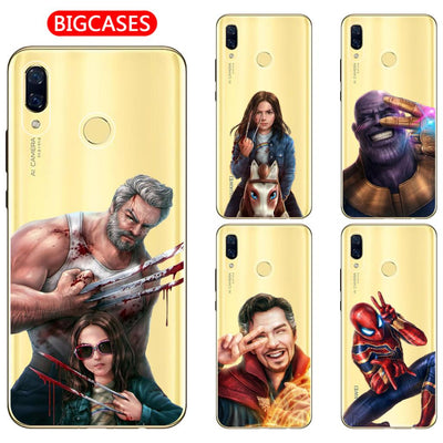 "For Huawei Nova 3 3i 3e Case Cover 6.3"" Soft TPU Silicone Cool Wonder Woman Spiderman Iron Man Marvel Hero Painted Phone Case"