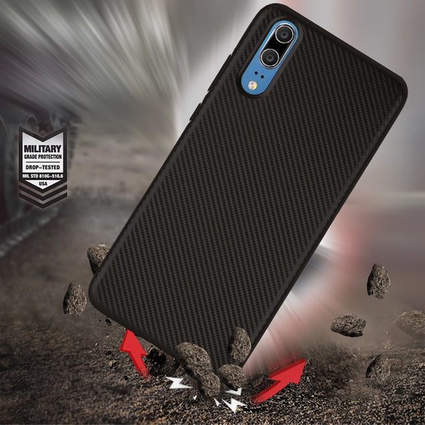 For Huawei P20 Case Luxury Shockproof Carbon Fiber Ultra Thin Soft TPU Phone Case For Huawei P20 Plus P20 Pro Slicone Back Cover