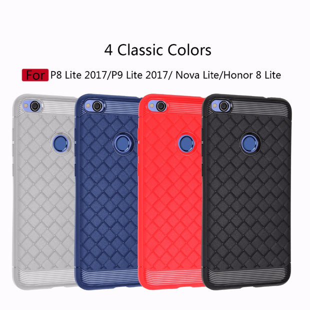 For Huawei P8 Lite 2017 P9 Lite 2017 Luxury Grid Weaving Soft Silicone Back Cover For Honor 9 Lite Case Ultra Thin Soft TPU Case