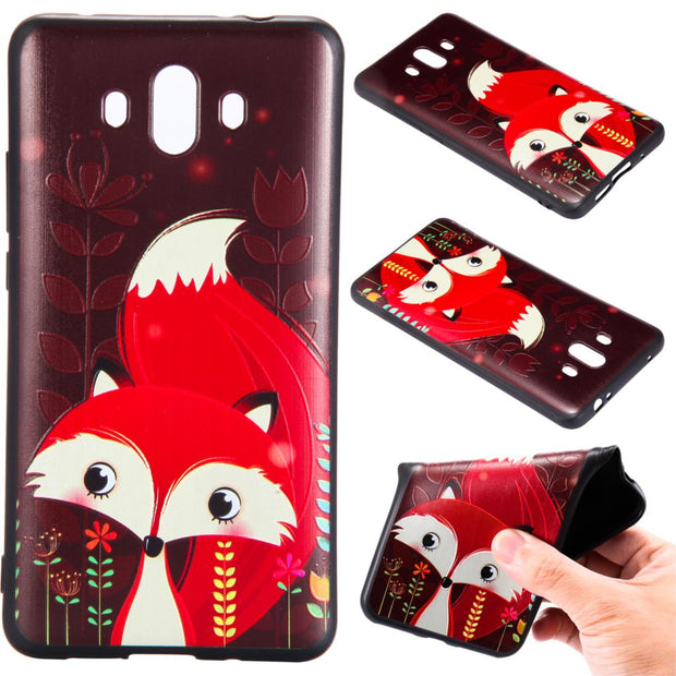 For Huawei P8 Lite P9 Lite 2017 P10lite Y5 Y6 2017 Mate 10 Lite Fox Unicorn Elephants Silicone Relief Case Cover TPU Phone Cases