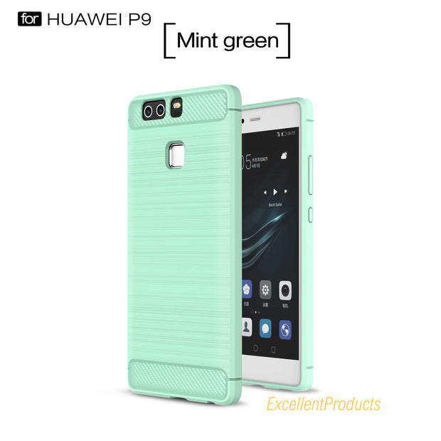 For Huawei P9 Case Hybrid Super Rugged Armor Carbon Fiber Texture Brushed Silicone Huawei P9 Phone Case