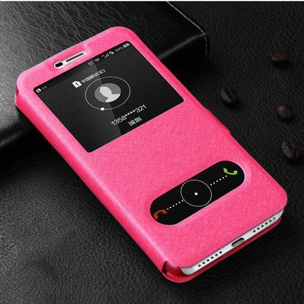 For Huawei Y3 2017 Case Flip 5.0 Luxury Quick View Window Case For Huawei Y3 2017 Cover PU Leather CRO-L22 CRO-U00 Phone Cases
