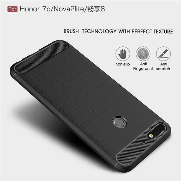 For Huawei Y7 Prime 2018 Luxury Brushed Carbon Fiber Soft TPU Back Cover For Nova 2 Lite Shockproof Case For Honor 7C Pro 5.99""