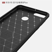 For Huawei Y9 2018 5.93 Inch Case Brushed Carbon Fiber Hard Rugged Back Cover For Enjoy 8 Plus Silicone Armor Coque FLA-AL00