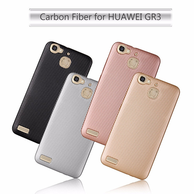 For Huawei Enjoy 7s P Smart Case Luxury Ultra Thin Carbon Fiber Soft Tpu Cover Silicone Case For Huawei GR3 2017 Phone Bag Case
