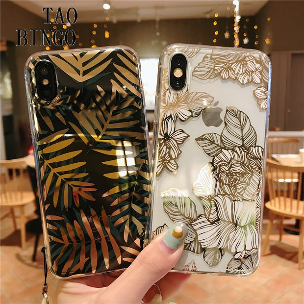 on sale f4c81 5e370 For IPhone 7 Case Fashion Gold Foil Leaf Flower Floral Silicone Transparent  Phone Case For IPhone X XS Max XR 6S 6 7 8 Plus Case