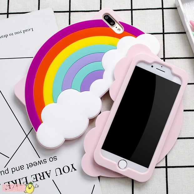 For Iphone 7 8 Case Rainbow The Unicorn Littlt Horse Head Silicon Phone Back Case For Apple Iphone 6 6s Plus Phone Case Cover