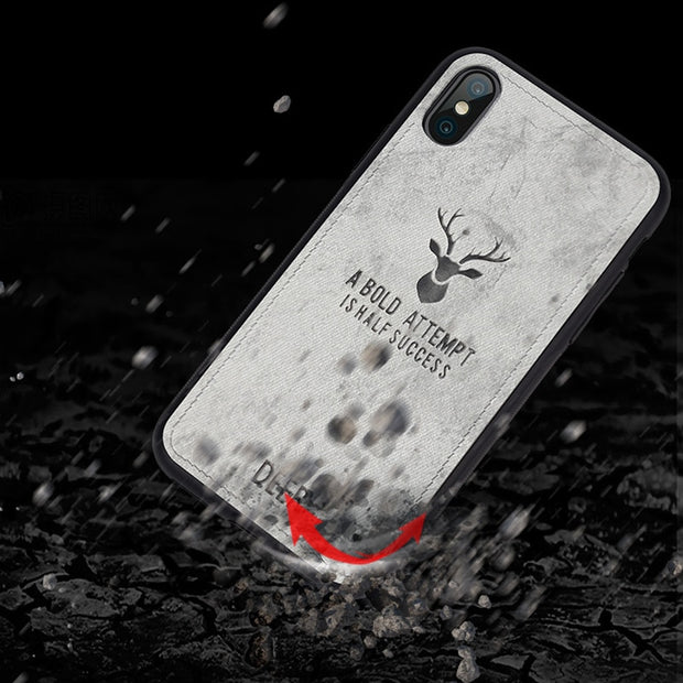 For Iphone XS Max Cloth Texture Deer Bat TPU Case For Iphone XR Cover Luxury Coque Soft TPU Silicon Cover For Iphone XS Case