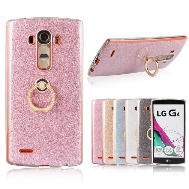 For LG G4 Funda Case Flash Powder Phone Case For LG G4 Coque Cover Tpu  Silicone Soft Back Cover Finger Ring Holder