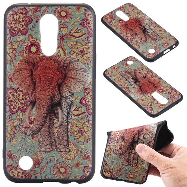 For LG K8 2017 K10 2017 Fox Unicorn Elephants Silicone Relief Case Cover TPU Phone Cases