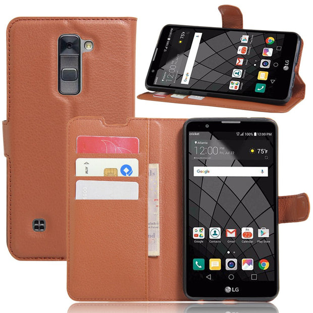For LG Stylus 2 Wallet Case LS775 K520 K520DY Flip Leather Covers