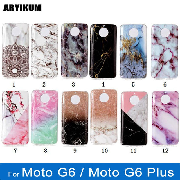 new products 2a1f4 ac471 For Motorola Moto G6 Plus G 6 Plus Case Silicone Luxury Marble Geometric  Pattern Soft TPU Cover For Moto G6 G6Plus Phone Bag