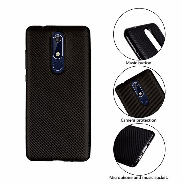 For Nokia 5.1 Case Luxury Shockproof Carbon Fiber Ultra Thin Soft TPU Phone Case For Nokia 5.1 For NOKIA 3.1 Slicone Back Cover