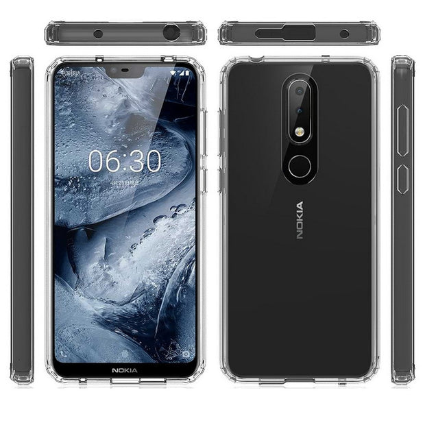 outlet store c86b4 94163 For Nokia 6.1 Plus Case TPU Bumper + Hard PC Acrylic Clear Hybrid ...
