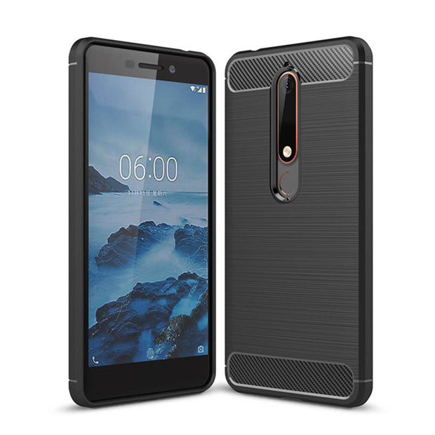 For Nokia 6 2018 Brushed Carbon Fiber Shockproof Silicone Back Cover For Nokia 6.1 Rugged Armor Case TA-1068 TA-1050 TA-1043