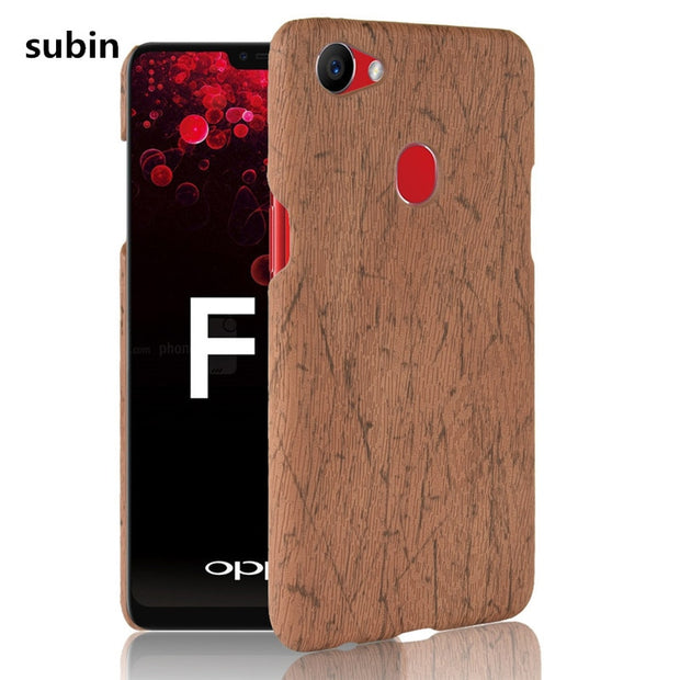 separation shoes af92a e6aa2 For OPPO F7 Phone Case Bumper PC Plastic PU Leather Cover For OPPO F7 F 7  Wood Cases