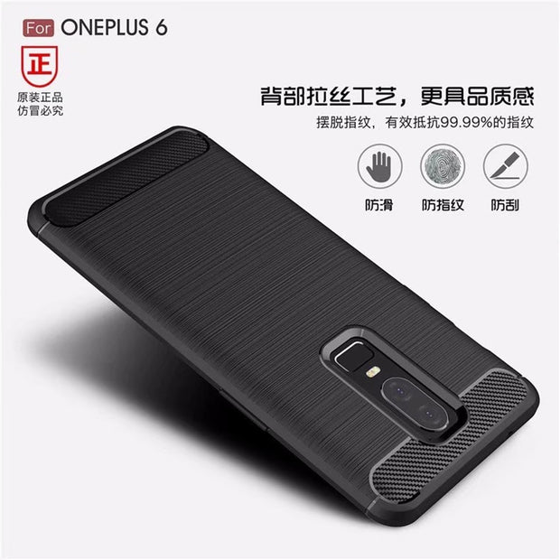 For Oneplus 6 Carbon Fiber Phone Cases For Oneplus 6 Cover Anti-resistant Soft TPU Back Covers For Oneplus 6 Protector Shells