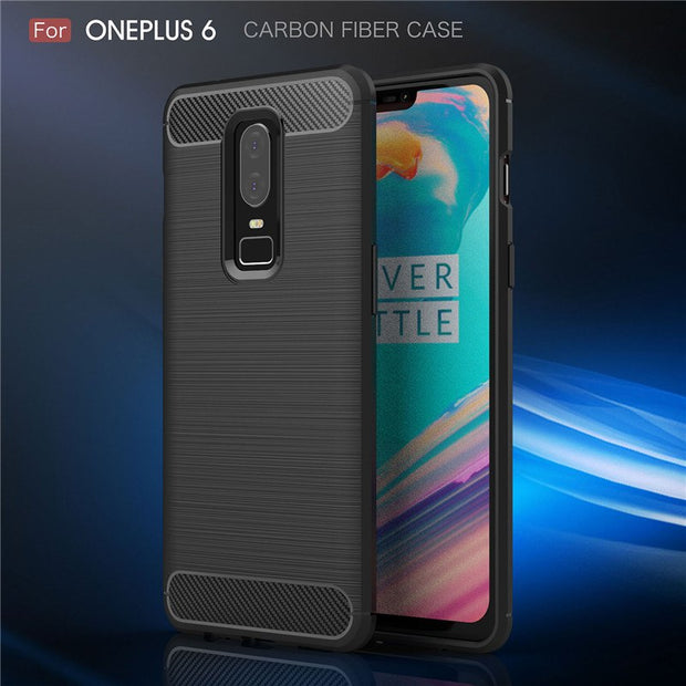 For Oneplus 6 Case Luxury Soft TPU Carbon Fiber Matte Back Cover For One Plus 3 3T / 5 5 T Shockproof Silicone Armor Coque