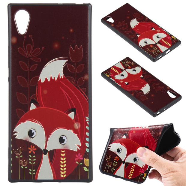 For SONY XA1 Z6 E6 L1 Fox Unicorn Elephants Silicone Relief Case Cover TPU Phone Cases