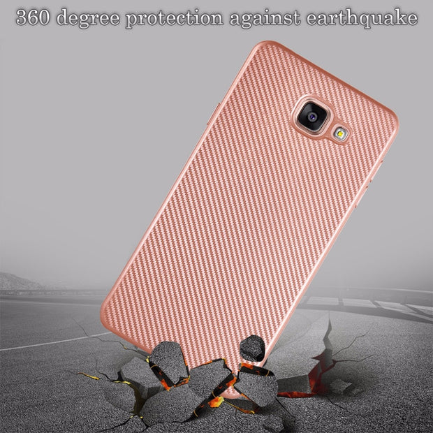 For Samsung Galaxy A3 A310 A5 A7 2016 A510 A710 Luxury Shockproof Carbon Fiber Ultra Thin Soft TPU Phone Case Slicone Back Cover
