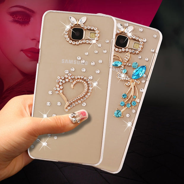 "For Samsung Galaxy A5 2017 A520 A520F SM-A520F Case Luxury Rhinestones Rose PU Hard Case Cover For Samsung (A5 2017) 5.2"" Not A5"