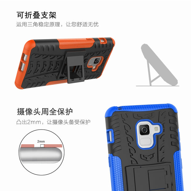 For Samsung Galaxy A8 A8+ A8plus(2018) Case TPU & PC Dual Armor With Stand Hard Silicone Cover For Samsung SM-A530 SM-A730F