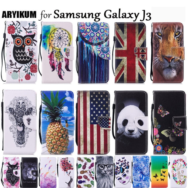 For Samsung Galaxy J3 J320 J320F 2016 Luxury Flip Leather Wallet Stand Case Silicon Cartoon Back Cover For Coque Samsung J3 2016