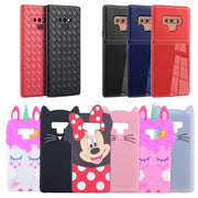 For Samsung Galaxy Note 9 Case Silicone Cartoon Minnie Cat Shy Horse Weave Carbon Fiber TPU Phone Cover Cases For Samsung Note9