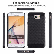 For Samsung J2 J5 J7 Prime Case Ultra Thin Grid Weave Case For G530 G532 Leather Skin Soft Silicon Black Cover Case