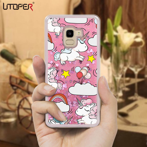 For Samsung J4 2018 Case Fashion Cute Liquid Cases Cover For Samsung Galaxy J6 J600 J400 Case For Samsung J3 J5 J7 Pro 2017 EU