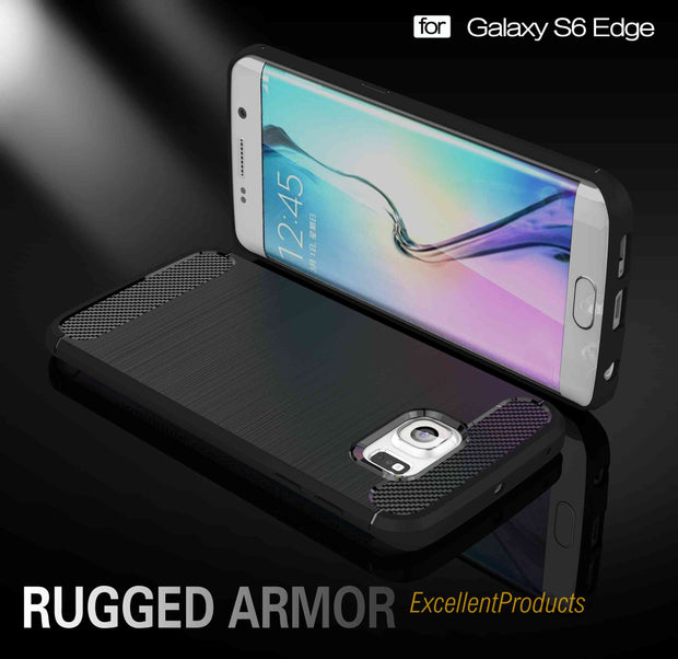For Samsung S6 EDGE Case Hybrid Super Rugged Armor Carbon Fiber Texture Brushed Silicone Samsung Galaxy S 6 EDGE Phone Case