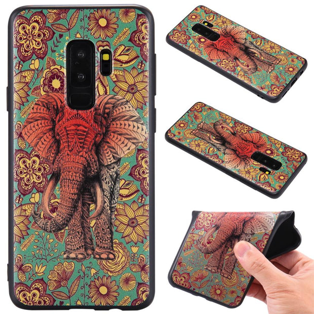 For Samsung S9 S9 Plus A8 A8 Plus 2018 A3 A5 J3 J5 J7 2017 2016 Fox Unicorn Elephants Silicone Relief Case Cover TPU Phone Cases