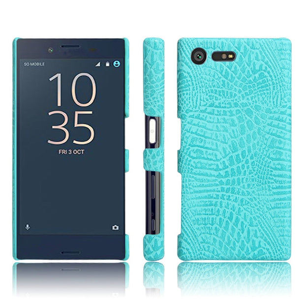For Sony X Compact F5321 Crocodile Pattern Hard PC+PU Leather Back Cover Hard Case For Sony Xperia X Compact X Mini F5321 4.6""