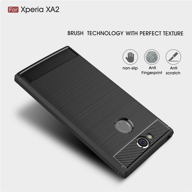For Sony Xperia XA2 Ultra Case Luxury Carbon Fiber TPU Drawing Material Phone Cover For Xperia XA1 Plus L2 Soft Anti-knock Coque