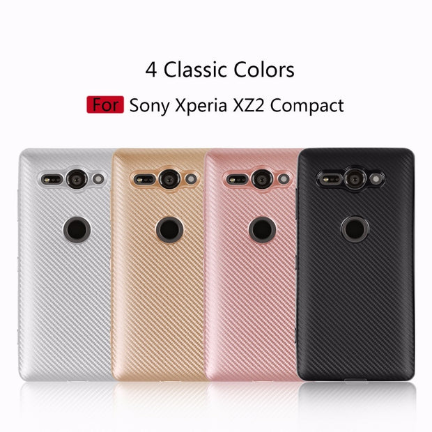 For Sony Xperia XZ2 Compact Case Luxury Shockproof Carbon Fiber Ultra Thin Soft TPU Phone Case For Xperia XZ2 Slicone Back Cover