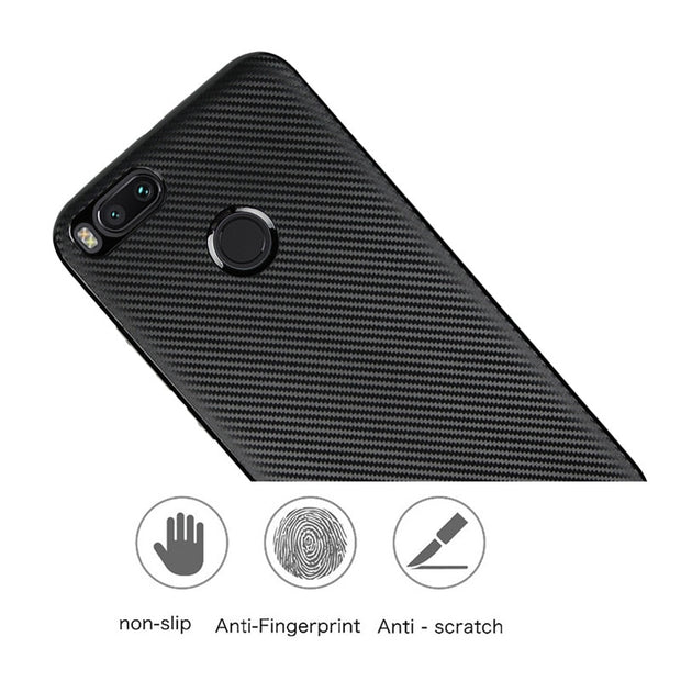 For Xiaomi 5X / A1 Max 2 Case Luxury Shockproof Carbon Fiber Texture Soft TPU Back Cover For Redmi Note 4 / 4A / 4X Coque