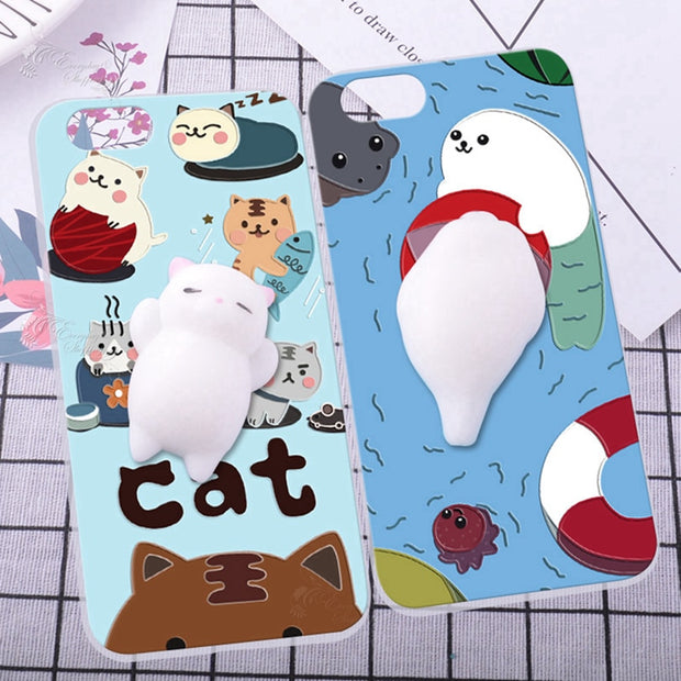 For Xiaomi Redmi 2 3D Case Finger Pinch Cat Phone Shell Lovely Squishy Cover Skin For Xiaomi Mi Note 2 Prime